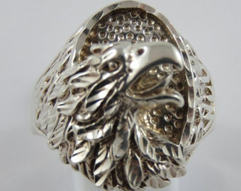 Sterling Silver Gents Eagle Head Ring-Size 13 1/2