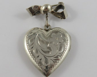 Sterling Silver Simbo Heart Shaped Locket with Bow Pin