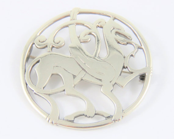 Sterling Round Dragon Brooch With Shetland Stamp