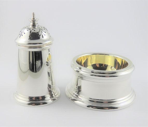 Asprey Sterling Silver Salt Cellar With Pepper Sha