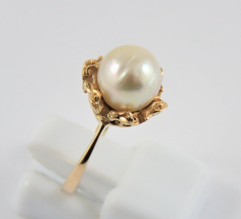 SIZE 5 14 Ladies 18KT Yellow Gold 8MM Cultured Pearl Ring