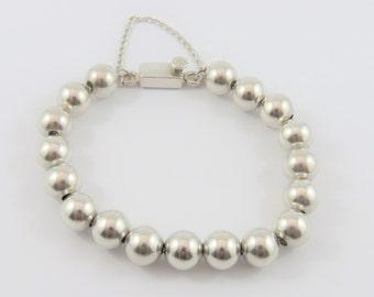 Sterling Silver 8 Inch Long 9.70mm Ball Bracelet