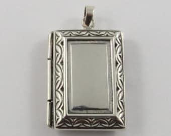 Sterling Silver Rectangular Shaped Locket Pendant