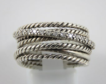 David Yurman Sterling Silver Multi Band Ring  - SIZE 7