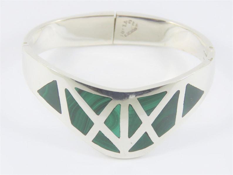 Sterling Silver Mexican TL-88 Malachite Bracelet
