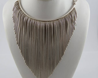 Sterling Silver Ladies V Shaped Necklace With An Adjustable Length Chain