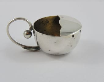 Carl Poul Petersen Hand Made Sterling Silver Salt Bowl With Pea Pod Pattern