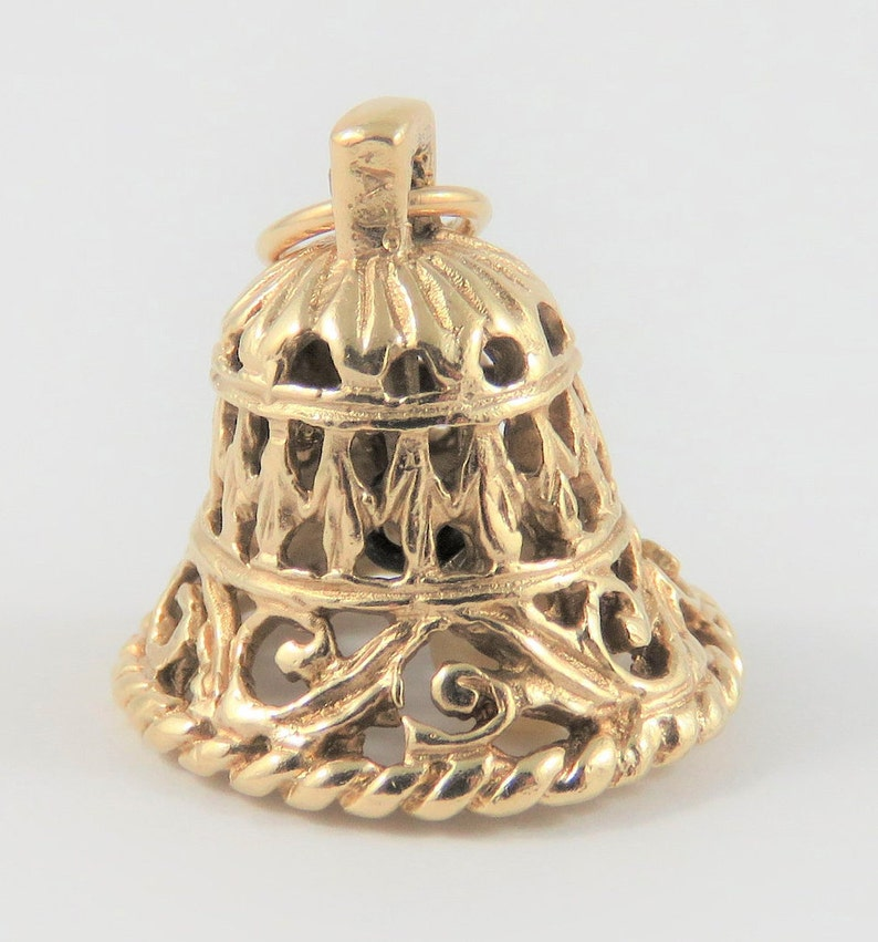 Reticulated Bell With White Stone Mechanical 10K Gold Vintage Charm For Bracelet