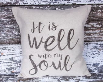 Lumbar Pillow Scripture Hymn Black and Canvas Beige Home Decor Hope Throw Pillow It is Well With My Soul Inspiration Pillow Word Pillow