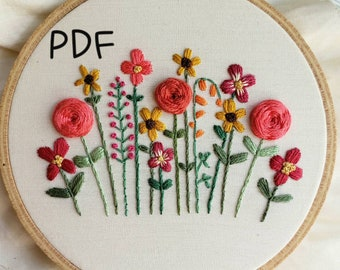 DIY Hand Embroidery Pattern PDF, Hand Embroidered Flower Garden, Roses and Sunflowers, Summer Colors, Instant Download PDF, Nursery Decor