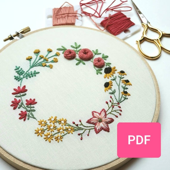 Diy Hand Embroidery Pattern Pdf Hand Embroidered Flower Garland Winter And Summer Colors Instant Download Pdf Baby Girl Nursery Decor