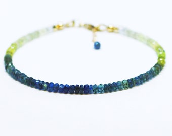 Natural Yellow Green and Teal Sapphire Bracelet Solid 14K Gold , September Birthstone , 5th 10th 45th Anniversary , Healing Gem , Canada