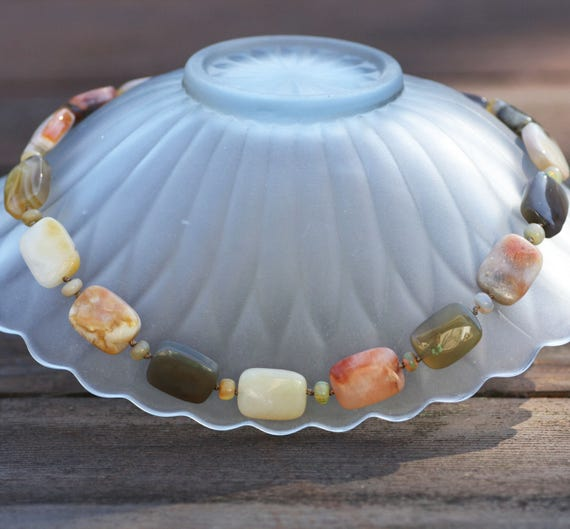 Natural Agate and Welo Opal Necklace and Earrings Set in Vermeil , Knotted , Filigree Earrings , 12th 14th Anniversary , September October