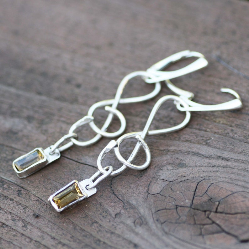 November Birthstone Bezel Set 13th Anniversary from Canada Natural Citrine Earrings Treble Clef Music Design Sterling Silver