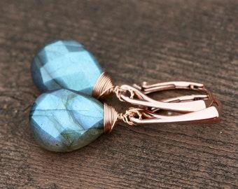 Natural Blue Flash Canadian Labradorite Earrings Rose Gold Filled , Spectrolite , Healing Gem