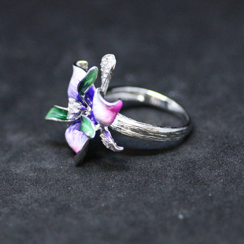 Strength 14th Anniversary Pink Purple Orchid Flower Enameled Ring Sterling Silver with Cubic Zirconias