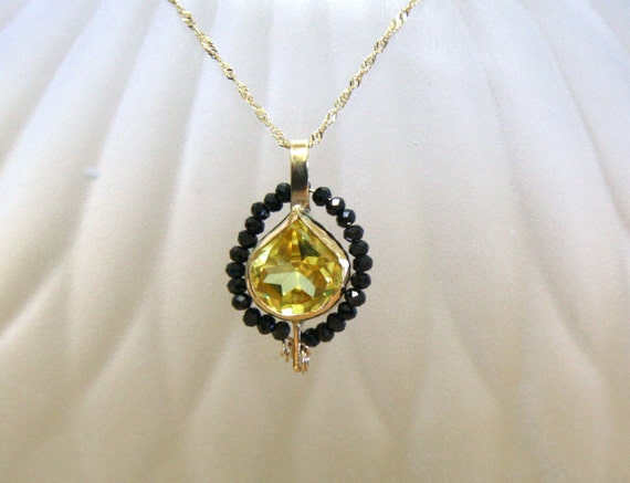 Heart Shaped Yellow Sapphire and Black Spinel Pendant in Solid 14K Yellow Gold , September Birthstone , 5th and 45th Wedding Anniversary
