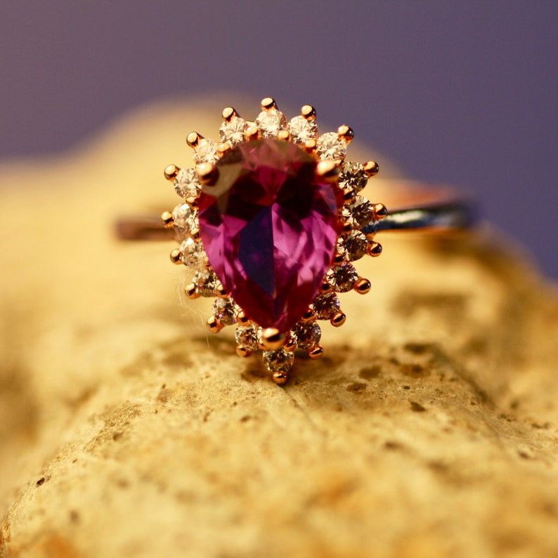 Color Change Alexandrite Diaspore or Morganite Engagement Ring 14k Rose Gold Vermeil