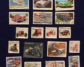 20 USA Transport Postage Stamps (KC021)