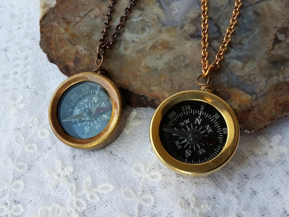 "Brass Necklaces Lot of 3 Compass Telescope /& Magnifier 30/"" Chain Man NAUTICAL"