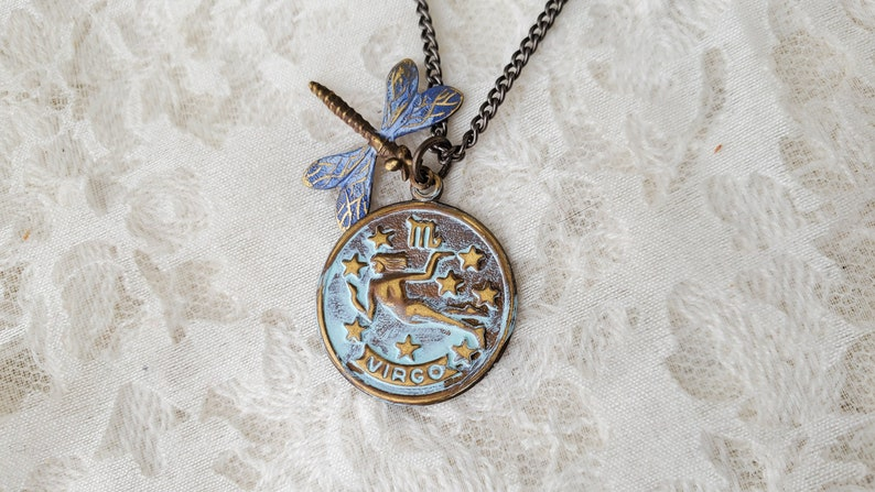 Sale Bargain Marked Down Dragonfly Hand Painted VIRGO Charm Necklace Quality Brass Chain Made in the USA Closeout Discount Wholesale