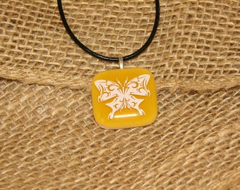 Yellow fused glass necklace with white butterfly decal, square