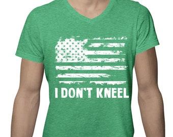 fe9e55b25 I Don t Kneel Distressed White American Flag Protest Football USA Merica  Singing National Anthem Men s V-Neck SF-0424