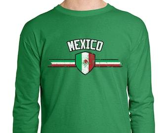 3fcda662f Mexico Series 3 Country Pride Flag Crest Estados Unidos Mexicanos Mexico  City Iztapalapa Guadalajara Discovery Men s Longsleeve Shirt MEX-03