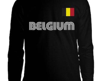 8f5b9db24 Belgium Belgian Country Pride Dutch Europe European Brussels Crest Flag  Coat Of Arms Men s Longsleeve Shirt BEL-01