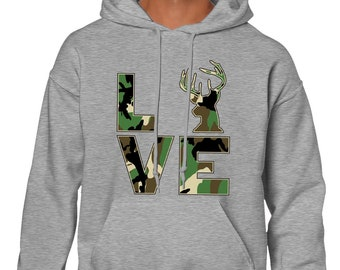 d83582584271 Camo Love Hunting Fishing Outdoors Deer Venison Fishing Rod Hunting Gear  Tents Cute Camouflage Country Outfit Nature Men s Hoodie SF-0535