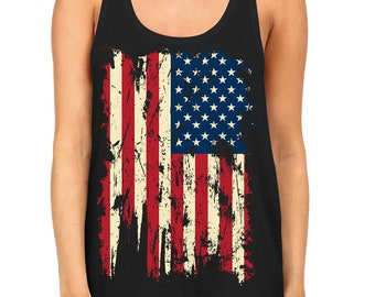 90f637a47b035 Distressed Vintage American USA Flag Patriotic Patriotism Land Of The Free  United States Of America Womens Racerback Tank Top OSF-0023