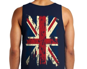 4b5369205224e7 Distressed Vintage Union Jack Great Britain Flag BACKPRINT Patriotic  Patriotism Europe British European Pride Men s Tank Top OSF-0025