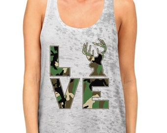 cb8e9b643d4e1 Camo Love Hunting Fishing Outdoors Deer Venison Fishing Rod Hunting Gear  Tents Camouflage Country Outfit Burnout Racerback Tank Top SF-0535