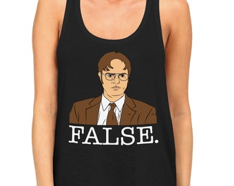 c22453e1c866e5 Dwight False Office Tv Show Comedy Schrute Bears Beets Glasses Battlestar  Scranton Xterra Cafe Disco Women s Racerback Tank Top SF-0558