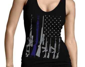 a733b4bd52333 Silver Blue Line Gun Flag Patriotism 2nd Amendment Gun Rights Right To Bear  Arms Gun American Pride USA Juniors Womens Tank Top OSF-0076