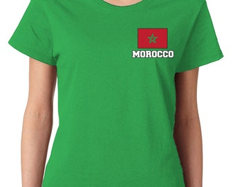 14e266342ef7 Morocco Series 2 Country Pride Chest Flag Kingdom Of Morocco Rabat  Casablanca Fes Sale Marrakesh Agadir Experiencing Women's T-Shirt MOR-02