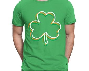 959df2d3 Irish Colored Shamrock Ireland Pride Saint Patrick's Day Line Work Leaf  Clover Seventeenth Trifolium Potato Green Luck Men's T-shirt SF-0470