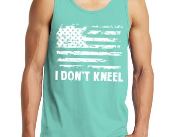 1e25d760b I Don t Kneel Distressed White American Flag Protest Football USA Merica  Singing National Anthem Men s Tank Top SF-0424