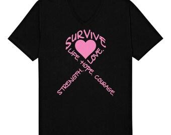5f62854d Survive Life Hope Love Strength Breast Cancer Awareness Novelty Gift Idea  Present Fun Run Charity Event Men's V-Neck T-shirt SF_0026