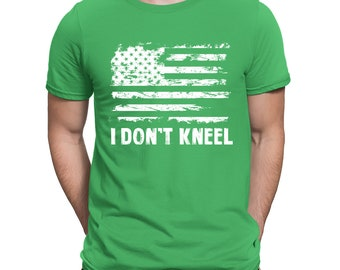 f5bc45c9c I Don t Kneel Distressed White American Flag Protest Football USA Merica  Singing National Anthem Men s T-shirt SF-0424