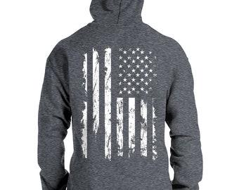 Merica Patriot US Flag Skull Military Hoodies for Men