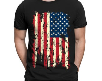 3c284733 Distressed Vintage American USA Flag Patriotic Patriotism Land Of The Free  United States Of America Constitution Men's T-shirt OSF-0023