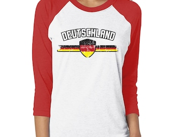 3cb6aa8506e Deutschland Series 3 Soccer Sports Country Pride Berlin Unity And Justice  European Crest Flag Coat Of Arms Unisex 3/4 Raglan Shirt DEU-03