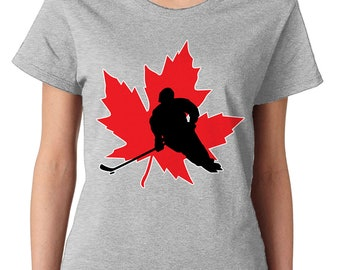 1005acca8c980 Hockey Maple Leaf Canada Canadian Country Sports Puck Field Ice Hockey Dad  Mom Women s T-Shirt SF-0484