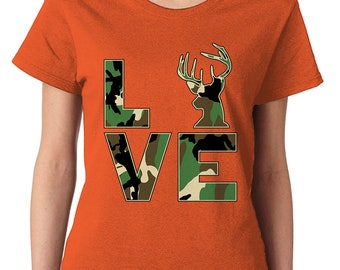 1619bbaef6575 Camo Love Hunting Fishing Outdoors Deer Venison Fishing Rod Hunting Gear  Tents Cute Camouflage Country Outfit Nature Women's T-Shirt SF-0535