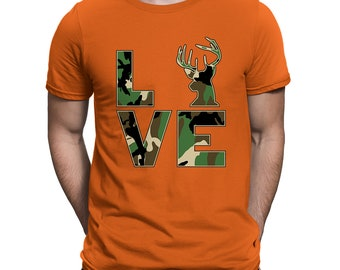1c063aef Camo Love Hunting Fishing Outdoors Deer Venison Fishing Rod Hunting Gear  Tents Cute Camouflage Country Outfit Nature Men's T-shirt SF-0535