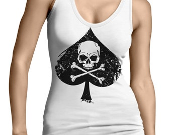 1dd08813c65b0f Ace Of Spades Skull   Crossbones Highest Card Playing Deck Spadille Death  Card Legend Symbolism Leaf Cosmic Juniors Womens Tank Top SF-0411