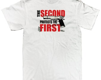 e096aac2 The Second Protects The First FireArm Rights 2nd Amendment USA Freedom  Patriotic Pride Men's T-shirt SF_0168