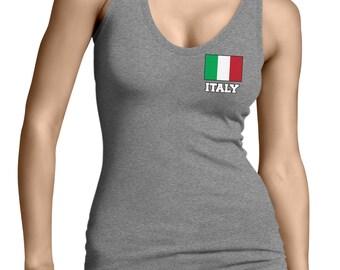 Italia Italy Splattered Flag National European Country Pride Mens Tank Top