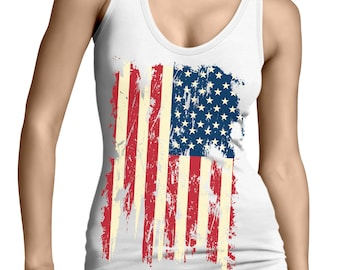 039931fb5816fd Distressed Vintage American USA Flag Patriotic Patriotism Land Of The Free  United States Of America Juniors Womens Tank Top OSF-0023